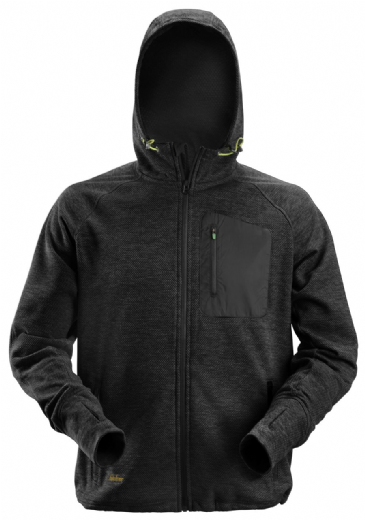 Snickers 8041 FlexiWork Fleece Hoodie (Black/Black)